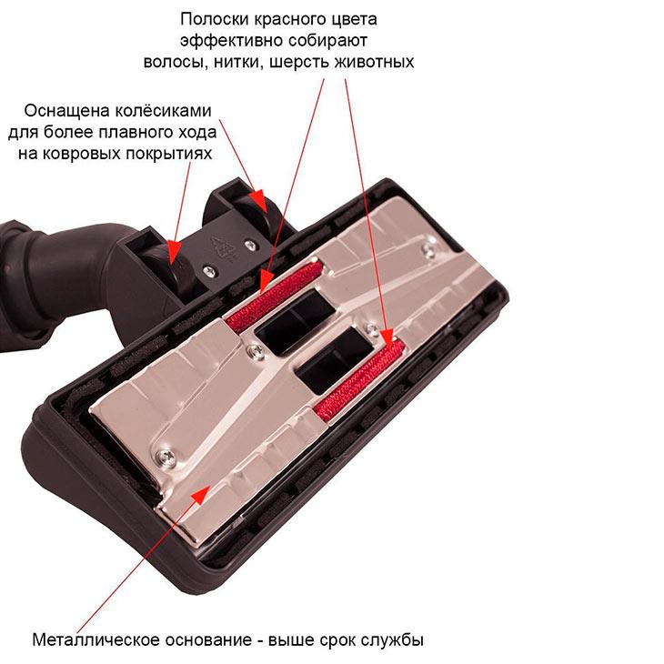 Насадка для пылесоса с колёсиками и переключателем, универсальная, для труб от 32 до 36 мм